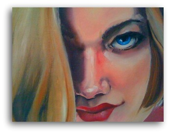 Oil Painting on canvas of a close up on a woman face with blue eyes titled