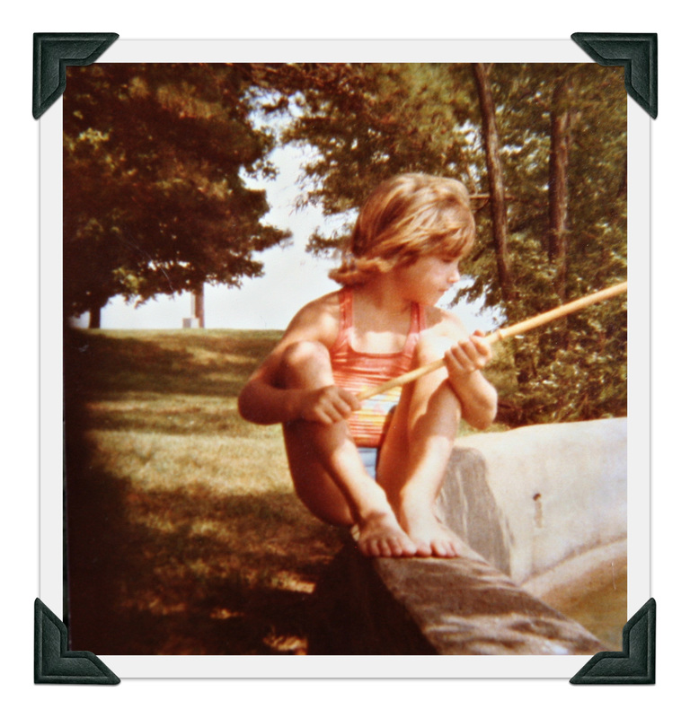 Sculpture artist Jessica Dvergsten on Petite Jean Mountain fishing at age 7.