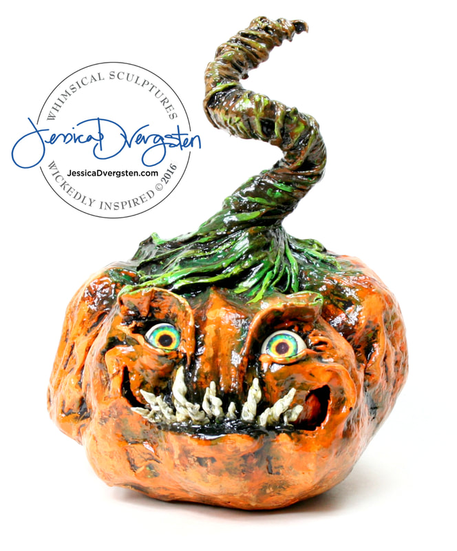Jessica Dvergsten Jack o lantern handmade paper mache with scary face