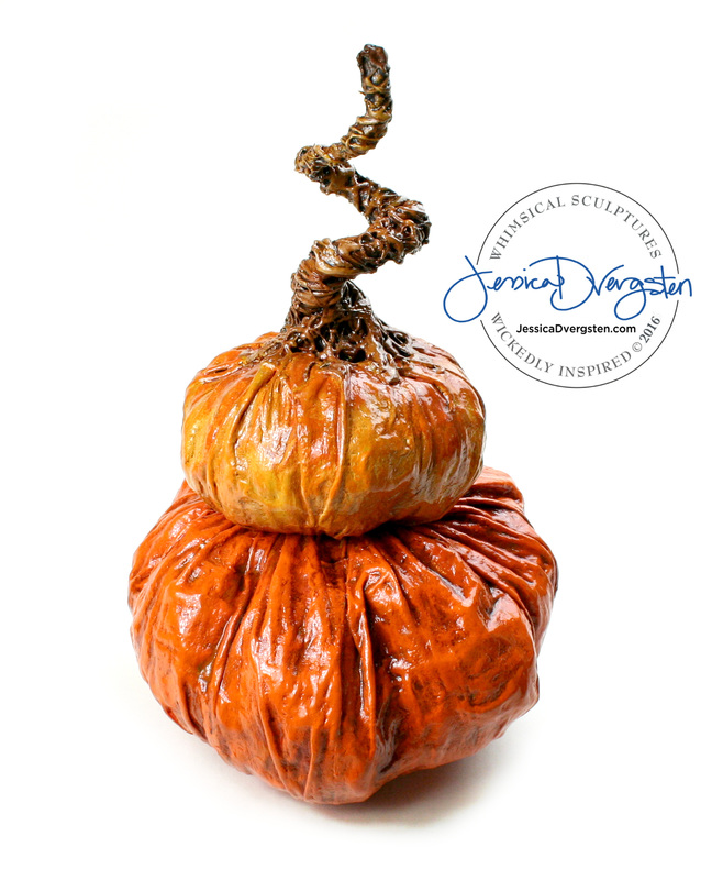 Jessica Dvergsten paper mache two tone pumpkin topiary for Halloween or Thanksgiving decorations.